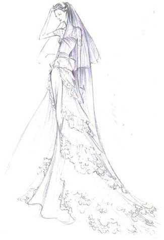 晚礼服设计图铅笔手稿 婚纱设计手稿素描图
